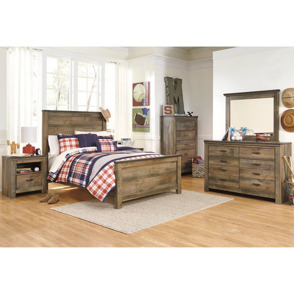 Trinell 10 Piece Full Bedroom Set w/Under Bed Storage - Brown