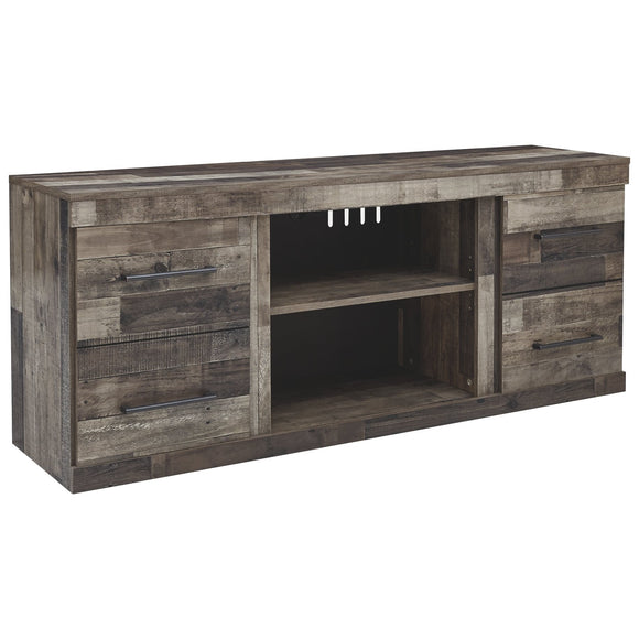 Derekson Large TV Stand w/Fireplace - Multi Grey