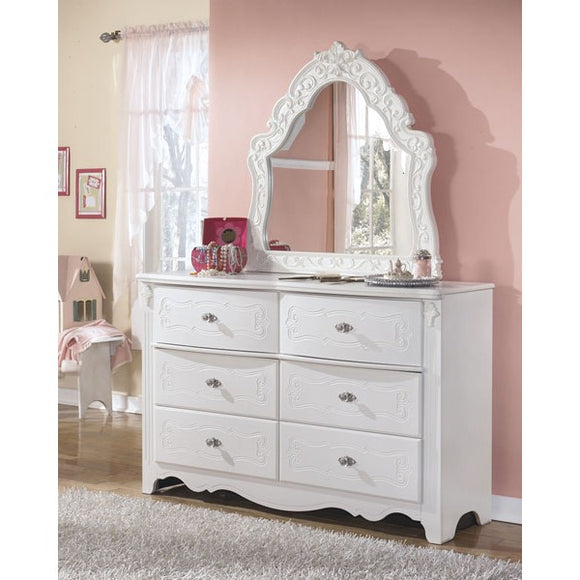 Exquisite Youth Dresser & French Style Mirror - White