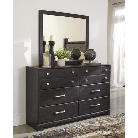 Reylow Bedroom Mirror & Dresser - Dark Brown