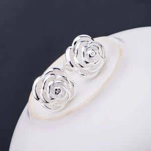 Silver plated Rose Earrings - Manhers Fashion