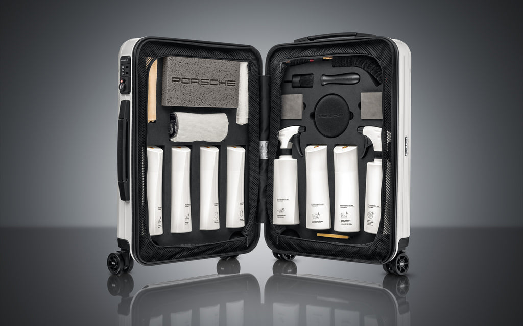 Porsche White Edition Car Care set with Rimowa luggage