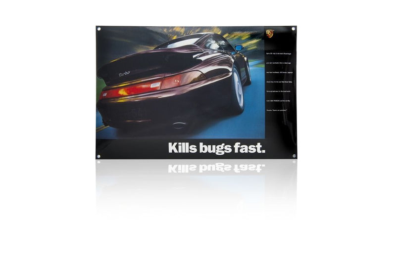 "Porsche Driver's Selection Classic Enamel Sign - 993 Turbo ""Kills Bugs Fast"""
