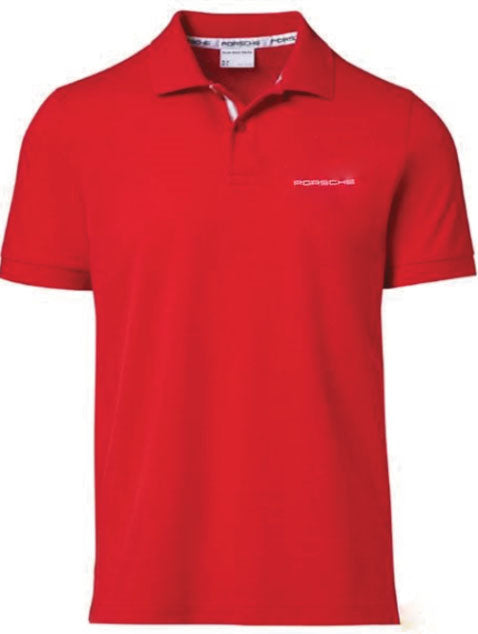 Men's Polo Shirt with PORSCHE lettering - Red - USA-only release