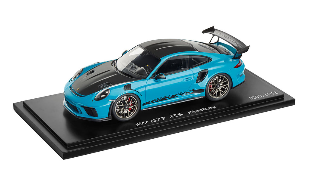 Porsche 911 (991.2) GT3 RS with Weissach Package 1:18 Model Car - Miami Blue