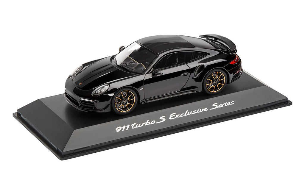 Porsche 911 Turbo S Exclusive Series 1:43 Model Car - black, black/yellow gold