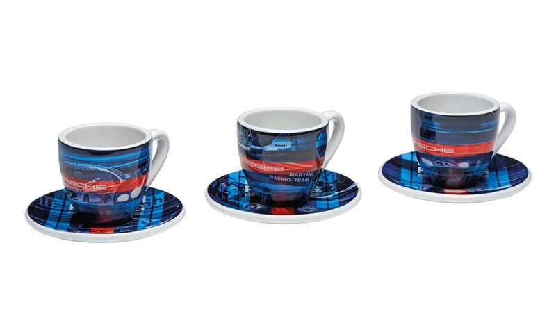 Porsche Driver's Selection Espresso Cups Set of 3 - Martini Racing, Limited NEW