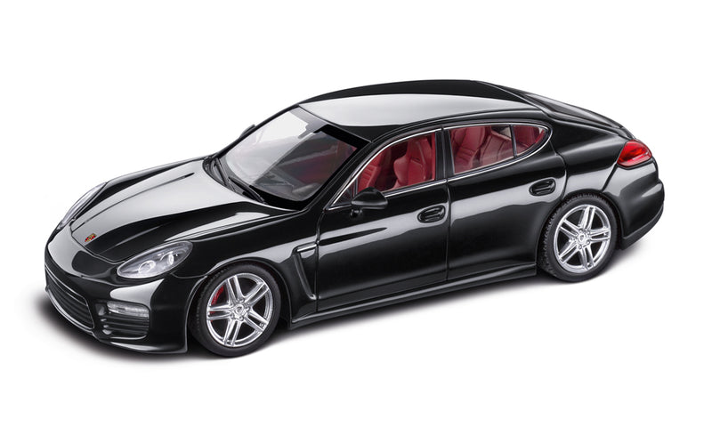 Porsche Panamera Turbo 1:43 Model Car - Bassalt Black Metallic