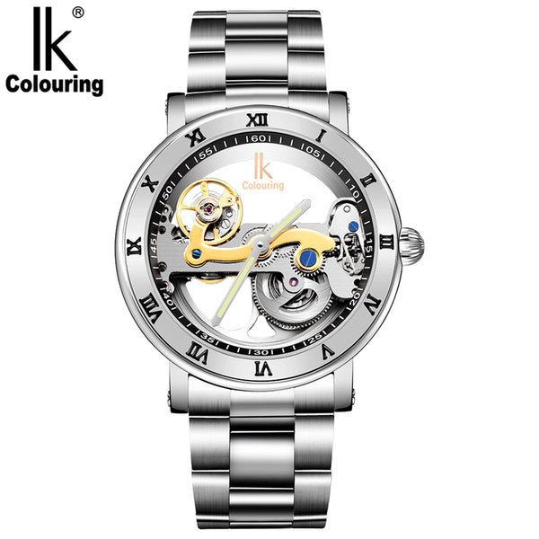 Promotion!Luxury brand IK Solid Stainless Steel 50 M Dive Swimming Waterproof Transparent Skeleton Business Men's Automatic Mechanical Watch - TMBWear