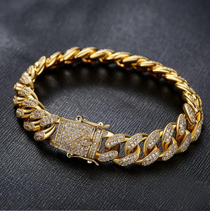 Gold silver cuban chain with cz paved bracelet for men jewelry with gold plated cuban cz chain bracelet jewelry - TMBWear