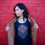 agave apparel huichol racerback tank in black with colorful pendant print