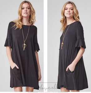 All Ruffled Up Charcoal Dress