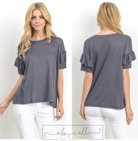 Haley Charcoal Top
