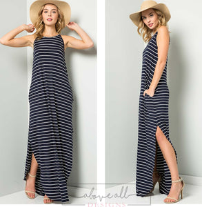 Mallory Stripe Maxi Dress - Navy/White