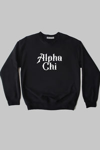 Alpha Chi Omega Fancy Text sweatshirt - Spikes and Seams Greek