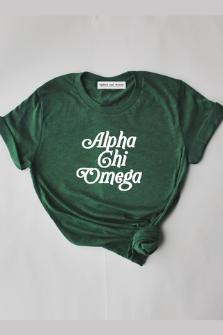 Alpha Chi Omega Green Script tee - Spikes and Seams Greek
