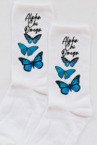 Alpha Chi Omega Butterfly socks - Spikes and Seams Greek