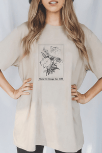 Alpha Chi Omega Beige Flower tee - Spikes and Seams Greek