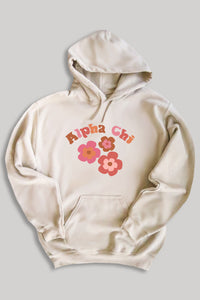 Alpha Chi Omega Groovy hoodie - sand - Spikes and Seams Greek