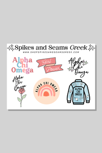 Alpha Chi Omega Sticker Sheet #1 - Spikes and Seams Greek