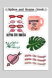 Alpha Chi Omega Sticker Sheet #2 - Spikes and Seams Greek