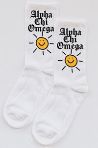 Alpha Chi Omega Sunshine socks - Spikes and Seams Greek