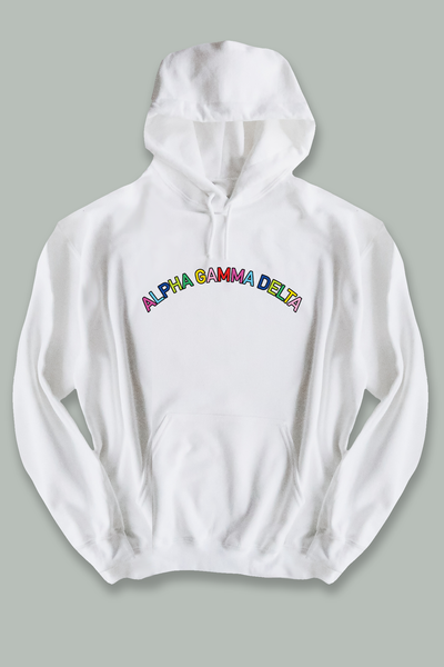 Colorful Text Hoodie - White - Spikes and Seams Greek