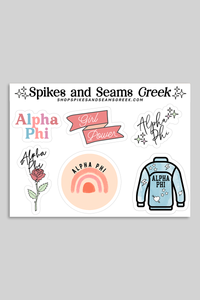 Alpha Phi Sticker Sheet #1 - Spikes and Seams Greek