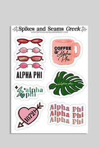 Alpha Phi Sticker Sheet #2 - Spikes and Seams Greek