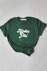 Alpha Phi Green tee - Spikes and Seams Greek
