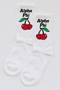 Alpha Phi Cherry socks - Spikes and Seams Greek