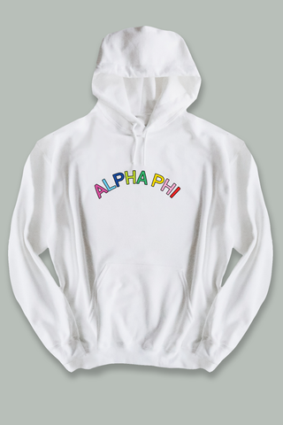 Alpha Phi Colorful text hoodie - Spikes and Seams Greek