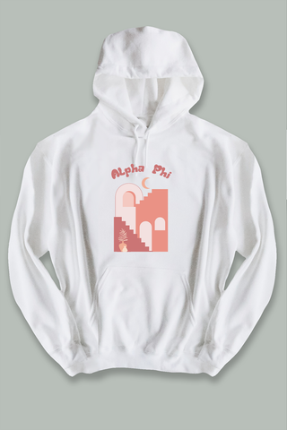 Alpha Phi Tangerine hoodie - Spikes and Seams Greek