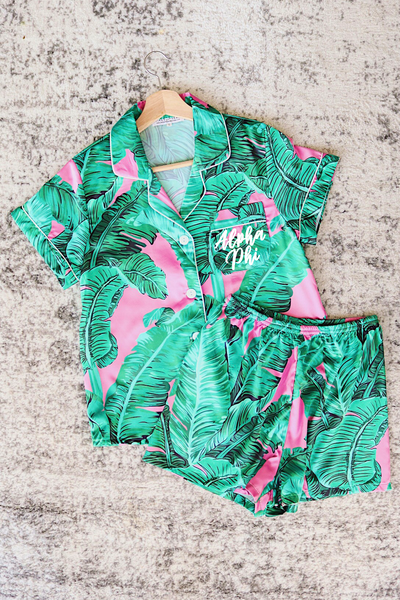 Alpha Phi Satin Pajamas - pink tropical - Spikes and Seams Greek