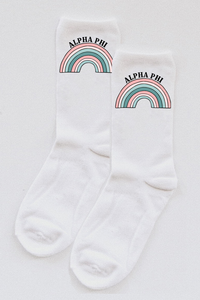 Alpha Phi Rainbow socks - Spikes and Seams Greek