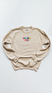Alpha Phi Bubble Letters sweatshirt - Sand - Spikes and Seams Greek