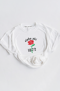 Alpha Phi Year Rose tee - Spikes and Seams Greek