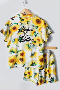Sunflower Sorority Pajamas - text on back - Spikes and Seams Greek