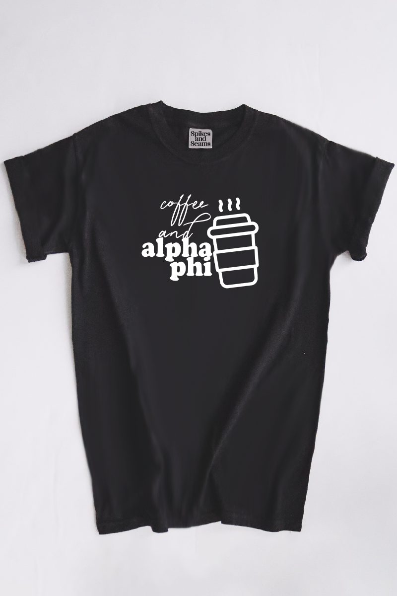 Coffee and Alpha Phi tee - Spikes and Seams Greek