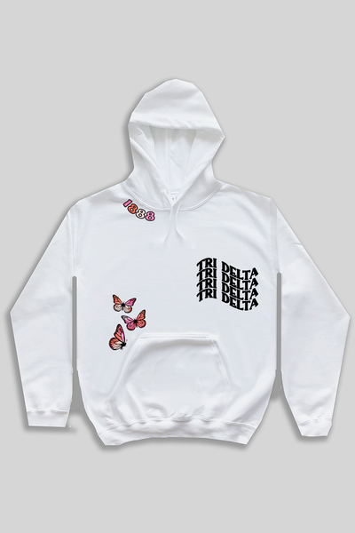 Butterflies Text Hoodie - most sororities available! - Spikes and Seams Greek