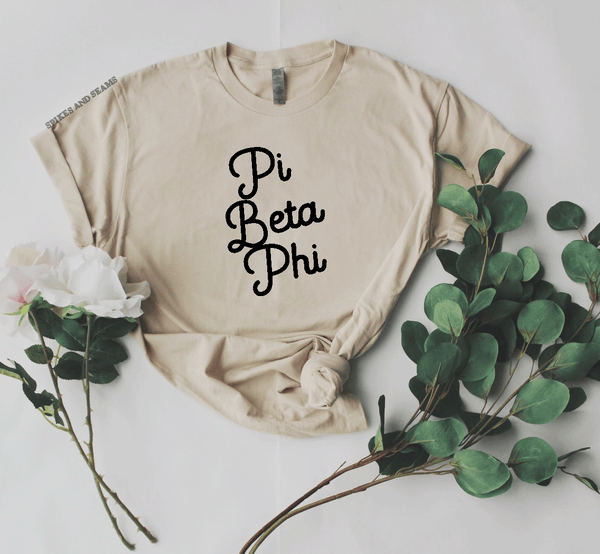 Sand Script Tee - available for all sororities! - Spikes and Seams Greek