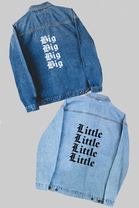 Custom repeat font denim jacket - Spikes and Seams Greek