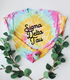 Tie Dye Script Tee - available for all sororities!