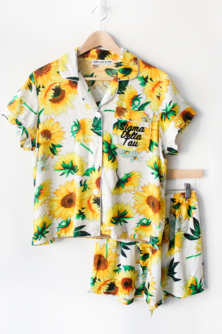 Sunflower Sorority Pajamas - text on front - Spikes and Seams Greek