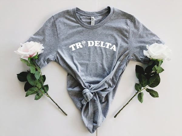 Grey Rose Tee - available for all sororities! - Spikes and Seams Greek