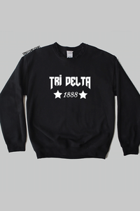 black Stars Sweatshirt - most sororities available! - Spikes and Seams Greek