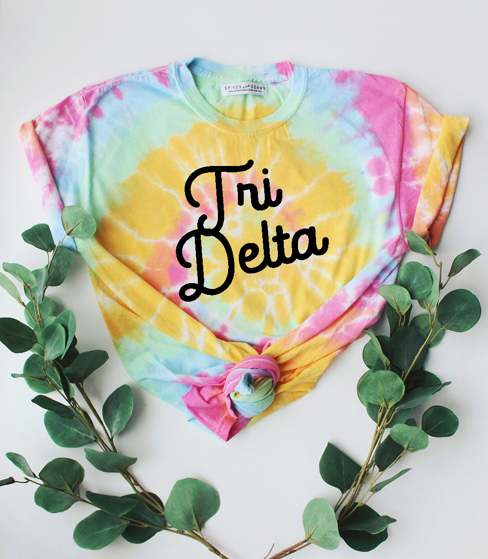 Tie Dye Script Tee - available for all sororities! - Spikes and Seams Greek