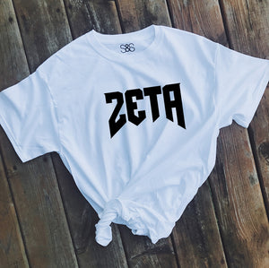 White Rocker Tee - available for all sororities! - Spikes and Seams Greek