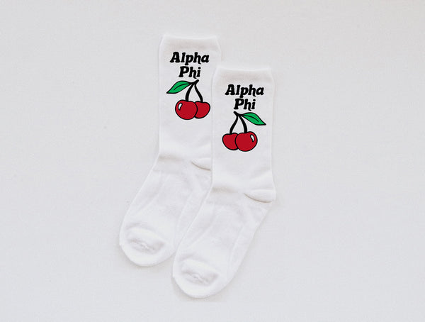 cherry Sorority socks - custom text! - Spikes and Seams Greek