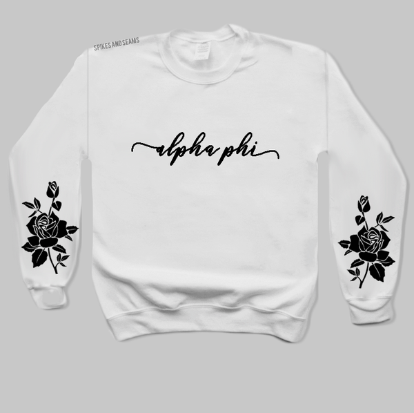 White Rose Sweatshirt - available for all sororities! - Spikes and Seams Greek